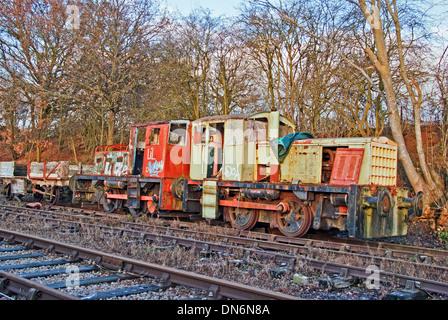 Deteriating Diesel Train on Disused Railway - Stock Photo
