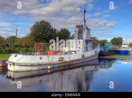 Boat on the Sankey Canal Reflection Warrington Cheshire England UK - Stock Photo