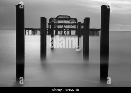 The Remains Of The West Pier, Hove, East Sussex, England, Uk.( Black And White)