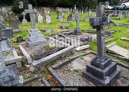 Fallen gravestones in old cemetery, Church Stretton, Shropshire - Stock Photo