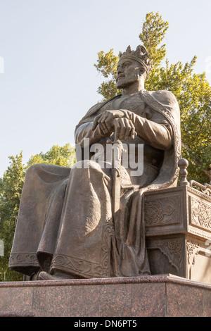 Statue of Amir Timur, also known as Temur and Tamerlane, Samarkand, Uzbekistan - Stock Photo
