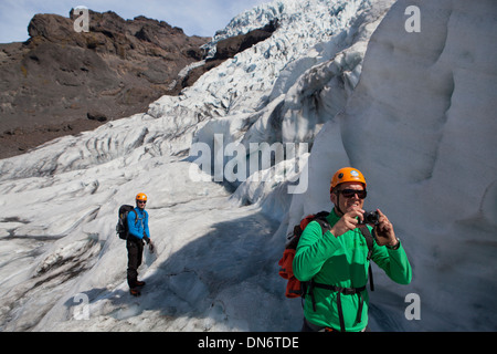 Vatnajökull, the largest glacier in Europe, covering large parts of East Iceland. - Stock Photo