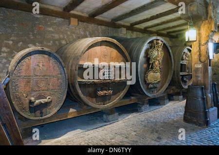 Elk213-2897 France, Alsace, Colmar, Unterlinden Museum, wine barrels in cellar - Stock Photo