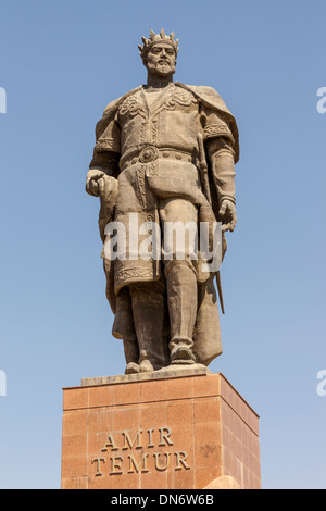 Statue of Amir Timur, also known as Temur and Tamerlane, Shakhrisabz, Uzbekistan - Stock Photo