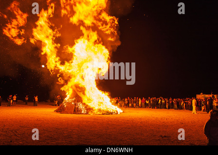High school students gather for annual autumn pep rally and bonfire - Stock Photo