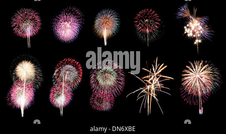 Variety of colors Fireworks or firecracker in ten different. - Stock Photo