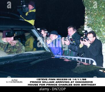 Nov. 13, 1998 - Great Britain - 14/11/98.PRINCE WILLIAM ARRIVING AT HIGHGROVE HOUSE .FOR PRINCE CHARLES 50th BIRTHDAY(Credit - Stock Photo