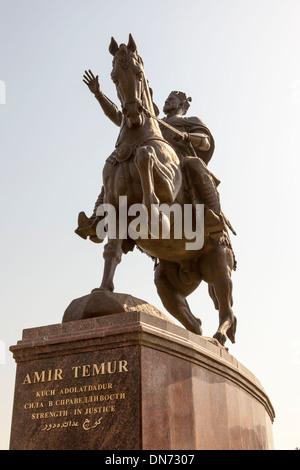 Statue of Amir Timur, also known as Temur and Tamerlane, Tashkent, Uzbekistan - Stock Photo