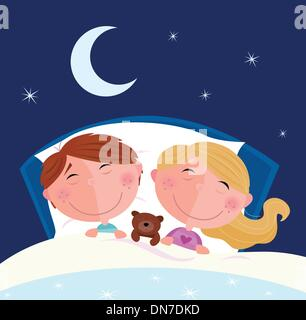Siblings - boy and girl sleeping and dreaming in bed - Stock Photo