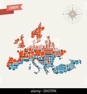 Europe geometric figures map illustration - Stock Photo