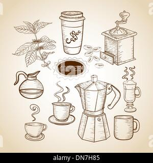 Coffee elements hand drawn illustration - Stock Photo