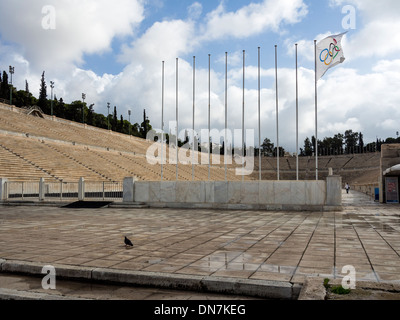 Panathenaic stadium site of first modern Olympic Games 1896 in Athens Greece. - Stock Photo