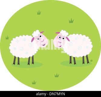 Two white sheep - Stock Photo