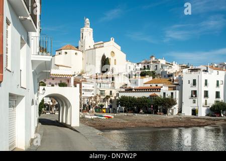 Port Alguer, as painted by Salvador Dali in the artist's town of Cadaques, Cap de Creus peninsula, Costa Brava, - Stock Photo