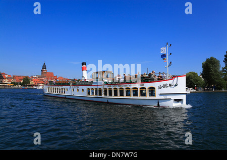 Waren Mueritz, excursion boat leafs harbor, Mecklenburg Lakes, Mecklenburg Western Pomerania, Germany, Europe - Stock Photo