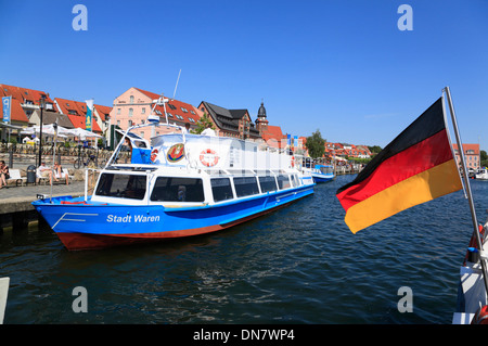 Waren Mueritz, excursion boats in the harbor, Mecklenburg Lakes, Mecklenburg Western Pomerania, Germany, Europe - Stock Photo