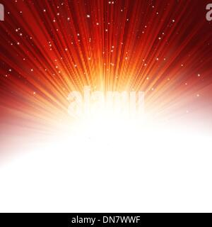 Stars and snowflakes on red golden. EPS 10 - Stock Photo