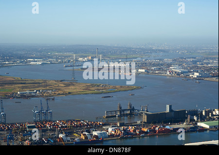 Looking up the river Thames from Tilbury towards London, South East England, UK - Stock Photo