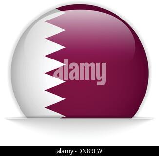 Qatar Flag Glossy Button Vector - Stock Photo