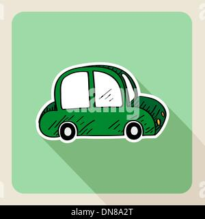 Hand drawn green car rental concept - Stock Photo