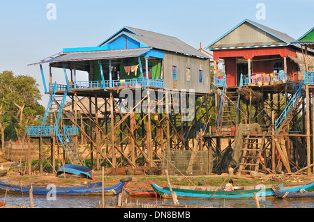 Kampong Phluk in afternoon sunlight - Stock Photo