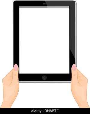 Illustration of the computer tablet in a hand of the woman - ver - Stock Photo