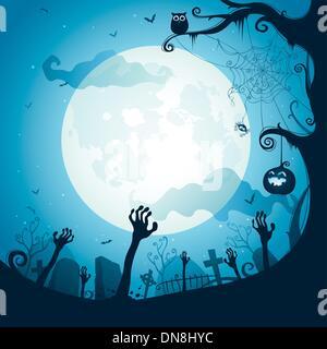 Halloween illustration - Graveyard - Stock Photo