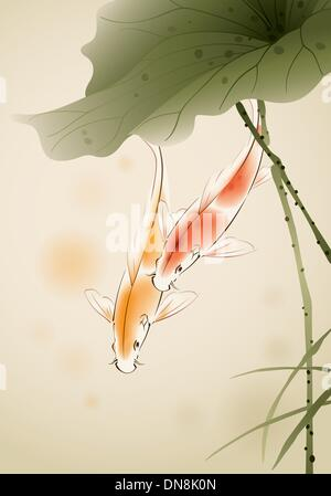 Koi fishes in lotus pond - Stock Photo