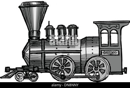 vintage steam train - Stock Photo