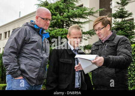 Belfast, Northern Ireland. 20 Dec 2013 - Loyalist activists Jamie Bryson, Willie Frazer and Bill Hill arrive at - Stock Photo