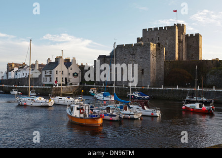 Castle Rushen and the harbour, Castletown, Isle of Man - Stock Photo