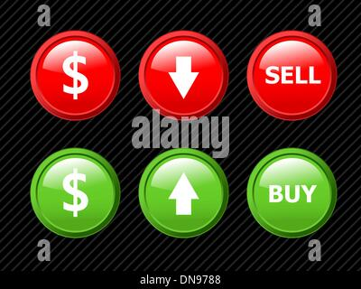 Set of vector icons for currency exchange business theme on blac - Stock Photo