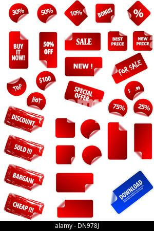 Big collection of vector sticky price labels for marketing and a - Stock Photo