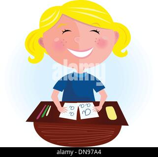 Back to school: Happy blond hair girl in classroom - Stock Photo
