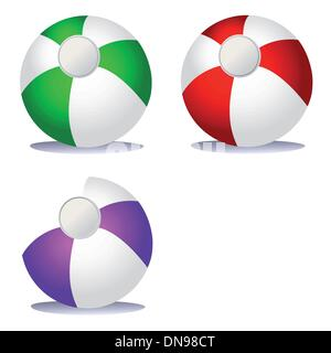 Set of coloured beach balls - Stock Photo
