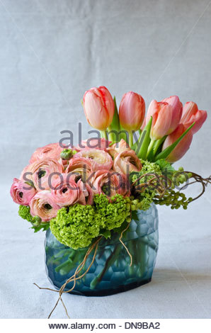 Spring flower arrangement with pink tulips and ranunculus in blue glass vase on light background. - Stock Photo