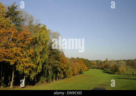 Sundridge Park Golf Club - View down from 12th Tee on the West Course with colourful Autumn Trees Bromley Kent England - Stock Photo