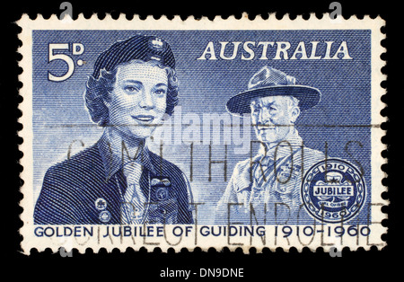 Stamp printed in the Australia shows Girl Guide and Lord Baden-Powell, 50th Anniversary of the Girl Guides, circa - Stock Photo