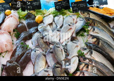 Fresh fish for sale on sea food market stall in Marseilles, Provence, France - Stock Photo