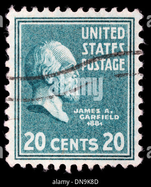 Stamp printed in United States. Displays a portrait of of James Abram Garfield, circa 1938 - Stock Photo