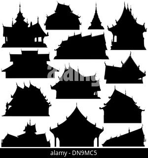 Temple building silhouettes - Stock Photo
