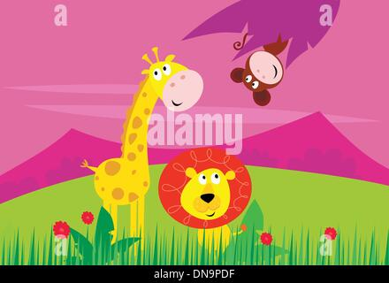 Funny jungle africa animals: Giraffe, Lion and Monkey - Stock Photo
