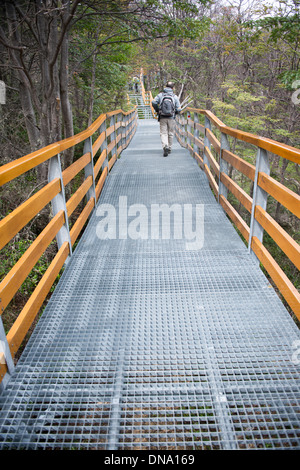 Los Glaciares National Park Argentina Tourist on pathway - Stock Photo