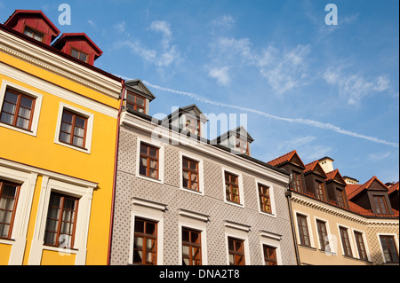 tenement houses with attic in Lublin - Stock Photo