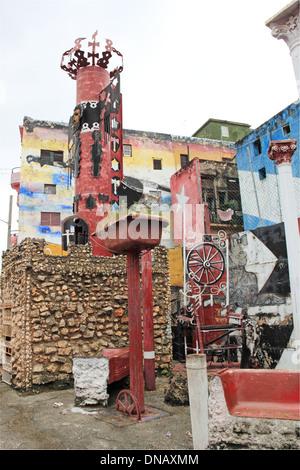 Street art at Callejón de Hamel, Vedado, Havana, Cuba, Caribbean Sea, Central America - Stock Photo