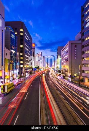 Hiroshima, Japan cityscape above Aioi-dori Avenue.