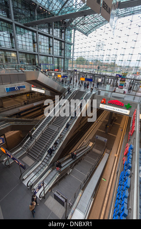 Berlin Railway Station looking downwards at escalators and the S Bahn Line - Stock Photo