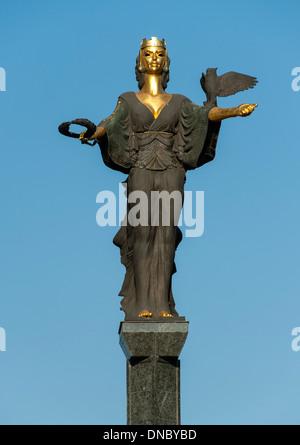 The Statue of Sveta Sofia (Saint Sofia) in Sofia, the capital of Bulgaria. - Stock Photo