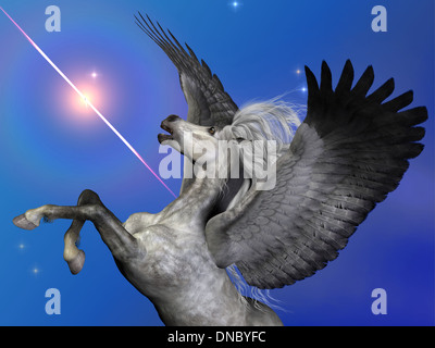 Pegasus is a flying winged horse of ancient myth and folklore passed down through the centuries. - Stock Photo