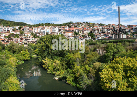 View of the Yantra River and houses of the city of Veliko Tarnovo in Bulgaria. Stock Photo